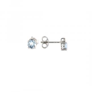 Orecchini in oro bianco 18kt con acquamarina taglio brillante 5mm 0,93ct e diamanti GVS1