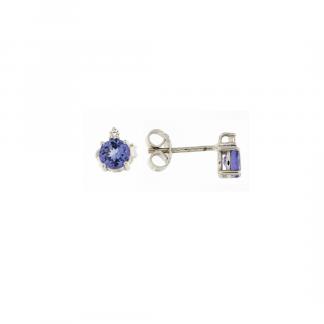 Orecchini in oro bianco 18kt con tanzanite taglio brillante e diamanti GVS1