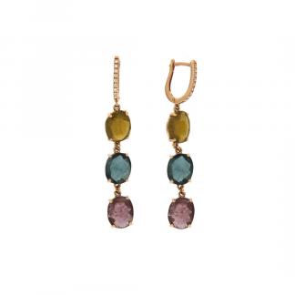 Orecchini in oro rosa 18kt con tormalina e diamanti GVS1