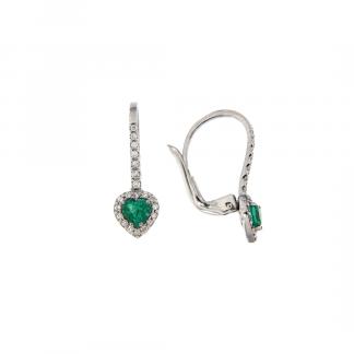 Orecchini in oro bianco 18kt con smeraldo taglio cuore 4mm e diamanti GVS1