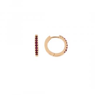 Orecchini in oro rosa 18kt con rubini taglio brillante