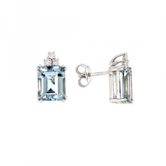 Orecchini in oro bianco 18kt con acquamarina ottagonale 10x8mm e diamanti GVS1