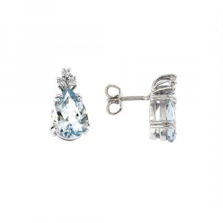Orecchini in oro bianco 18kt con acquamarina goccia 12x8mm e diamanti GVS1