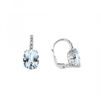 Orecchini in oro bianco 18kt con acquamarina ovale 10x8mm e diamanti GVS1