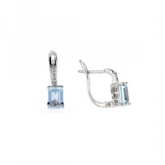 Orecchini in oro bianco 18kt con acquamarina ottagonale 7x5mm e diamanti GVS1