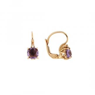 Orecchini in oro rosa 18kt con ametista antico brio e diamanti GVS1