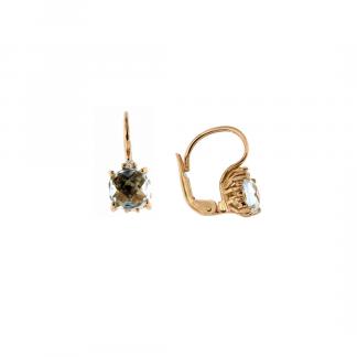 Orecchini in oro rosa 18kt con topazio azzurro antico brio e diamanti GVS1