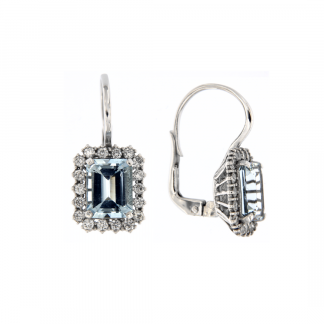 Orecchini in oro bianco 18kt con acquamarina ottagonale 9x7mm e diamanti GVS1