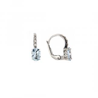 Orecchini in oro bianco 18kt con acquamarina ovale 7x5mm 1,20ct e diamanti GVS1