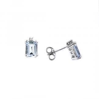 Orecchini in oro bianco 18kt con acquamarina ottagonale 8x6mm e diamanti GVS1