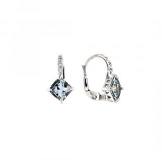 Orecchini in oro bianco 18kt con acquamarina carrè 6mm e diamanti GVS1