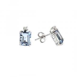 Orecchini in oro bianco 18kt con acquamarina ottagonale 9x7mm 4,10ct e diamanti GVS1