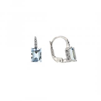 Orecchini in oro bianco 18kt con acquamarina ottagonale 7x5mm 2,20ct e diamanti GVS1