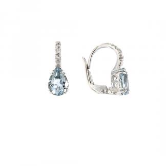Orecchini in oro bianco 18kt con acquamarina goccia 8x6mm e diamanti GVS1