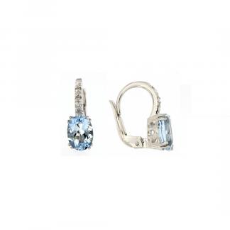 Orecchini in oro bianco 18kt con acquamarina ovale 8x6mm 2,34ct e diamanti GVS1