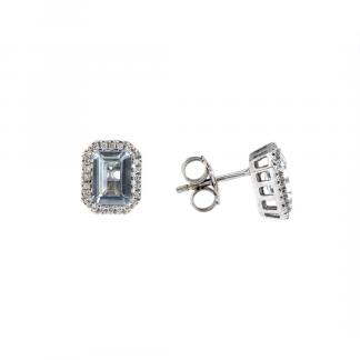 Orecchini in oro bianco 18kt con acquamarina ottagonale 7x5mm 1,80ct e diamanti GVS1