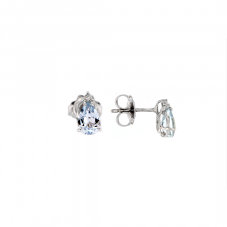 Orecchini in oro bianco 18kt con acquamarina goccia 7x5mm e diamanti GVS1