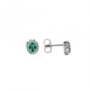 Orecchini in oro bianco 18kt con smeraldo ovale 5x4mm e diamanti GVS1