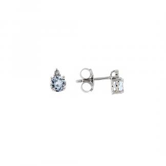 Orecchini in oro bianco 18kt con acquamarina taglio brillante 5mm e diamanti GVS1