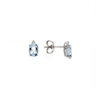 Orecchini in oro bianco 18kt con acquamarina ovale 7x5mm 1,29ct e diamanti GVS1