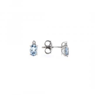 Orecchini in oro bianco 18kt con acquamarina ovale 6x4mm e diamanti GVS1