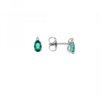 Orecchini in oro bianco 18kt con smeraldo taglio ovale 6x4mm e diamanti GVS1