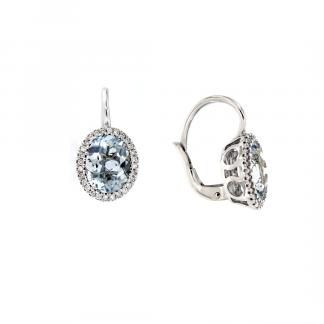 Orecchini in oro bianco 18kt con acquamarina ovale 9x7mm e diamanti GVS1
