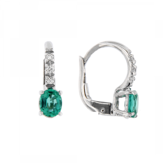 Orecchini in oro bianco 18kt con smeraldo taglio ovale 5x4mm e diamanti GVS1